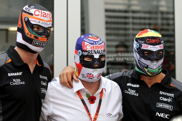 Formula One World Championship 2015, Round 17, Mexican Grand Prix, Mexico City, Mexico, Thursday 29 October 2015 - Nico Hulkenberg (GER), Sahara Force India, Nigel Mansell (GBR), Sergio Perez (MEX), Sahara Force India